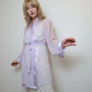 Vintage 90's sheer lavender embroidered robe